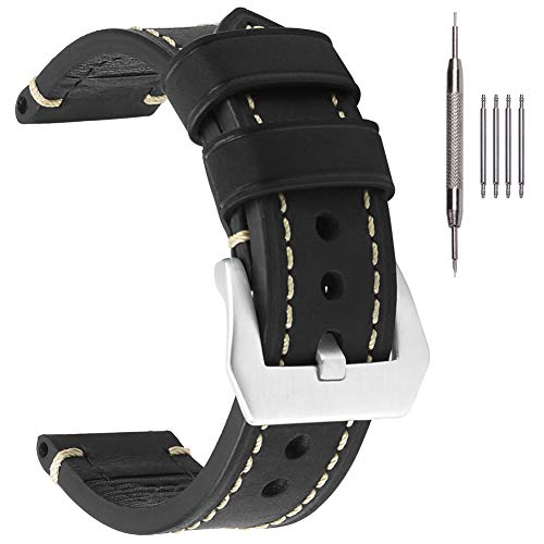 Black Watch Band,EACHE 24mm Vegetable Tanned Leather Watch Strap for Men Women,Black Handware