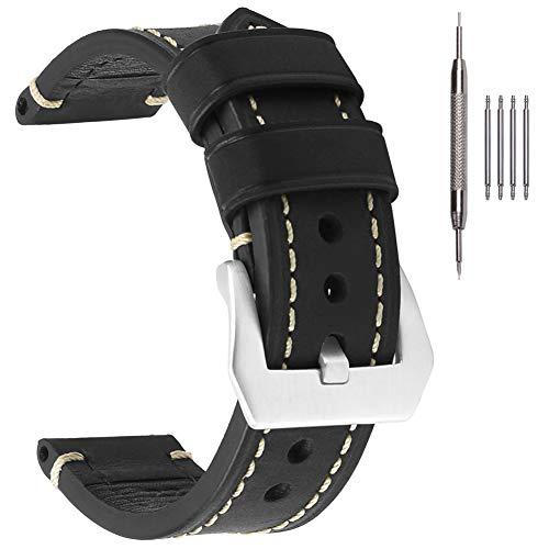 EACHE Correas de reloj de cuero negro de 26mm Correas de reloj de cuero genuino grueso Crazy Horse con hebilla plateada