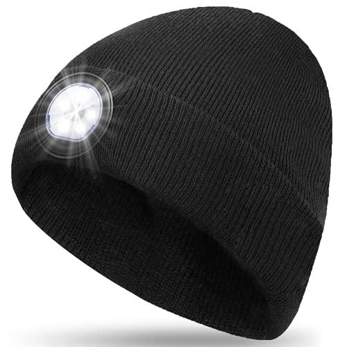 Mütze mit Led Licht Geschenke für Männer Frauen - Geburtstagsgeschenk Personalisierte Geschenke Weihnachten Gadgets Aufladbar USB Haube, Adventskalender Nikolausgeschenk Wintermütze Stirnlampe