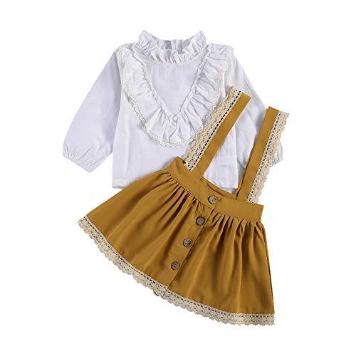 Loalirando Completo Bambina Elegante Camicia Bianca a Manica Lunga+Gonna in Pizzo (Bianco, 2-3 Anni)