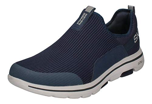 Skechers Herren Go Walk 5 Slip On Sneaker, Blau (Navy Textile/Synthetic/Gray Trim Nvgy), 43 EU