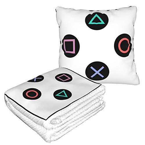 Manta de almohada de terciopelo suave 2 en 1 con bolsa suave para jugar con botones de mando Playstation, funda de almohada para casa, avión, coche, viajes, películas