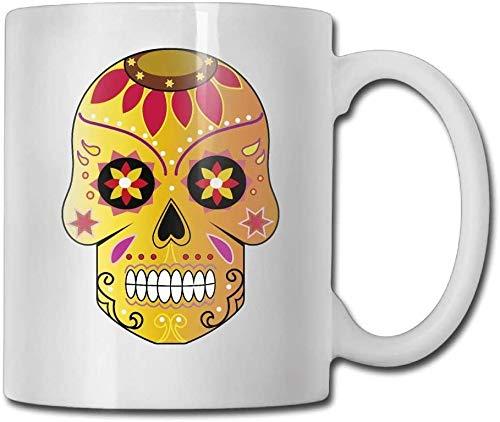 Taza de café de doble cara de 15 onzas con diseño de calavera