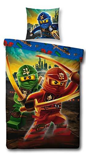 LEGO Bettwäsche Kompatibel Ninjago Motiv, 135x200 cm + 80x80 cm, Kinder und Jungen, Linon 100% Baumwolle Mountain, Ninjago Bettwäsche