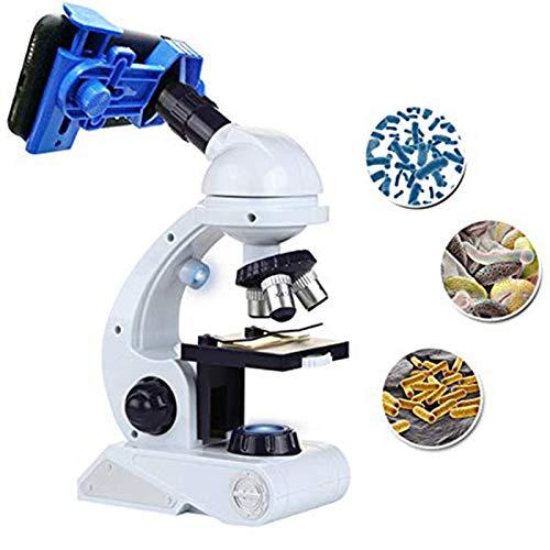 SovelyBoFan Microscopio para Ni?os Science Kit, Kit De Microscopio Principiantes Azul/Blanco con Led 80X 200X Y 450X Magnification Science Toy,Juguete Educativo Regalo para Ni?os