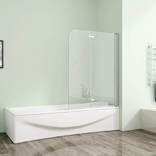 90x140cm Badewannenfaltwand Duschabtrennung 6mm Badewannenaufsatz Duschwand mit Nanobeschichtung 900VS2E