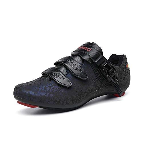 VIPBQO Zapatos de ciclismo para bicicleta de carretera para hombre, adecuados para ciclismo al aire libre 38-47, Black, 46 EU