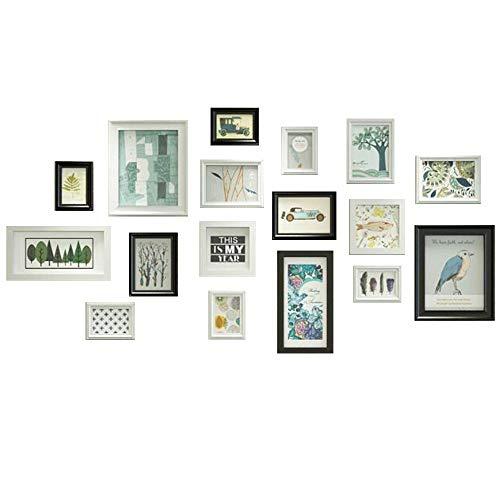 ZMDJ fotolijsten, set van 17 Collage muur monteerbaar of gratis staande 5 verschillende maten fotolijsten Eenvoudige fotolijst creatieve foto muur galerij kit voor meerdere foto's