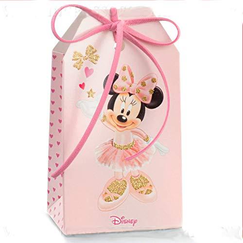 Ingrosso e Risparmio 10 Portaconfetti Disney a Forma di bustina/Tag in cartoncino Rosa con Minnie Ballerina e Glitter, bomboniere economiche Nascita, Battesimo Bambina (Senza confezionamento)