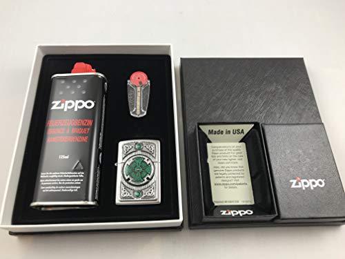 Kelten Kreuz Zippo Celtic Green Cross - Geschenk Set Feuerzeug Emblem - 2005167