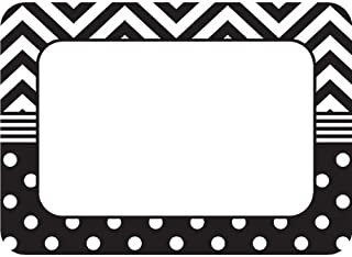 Teacher Created Resources 5548 Black and White Chevron and Dots Name Tags