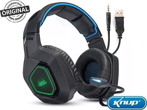 Fone de ouvido Gamer Headset Reduz Ruídos Supra-Auricular Microfone Luz LED PC PS4 Xbox Laptop Nintendo PUBG P2 e USB (AZUL KP-488) [video game]