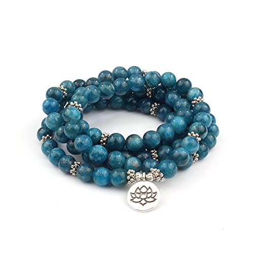KAITUO Mujeres Hombres Piedra Natural 108 Beads Mala Pulseras Apatite con Lotus Charm Yoga Chakra Pulsera o Collar Joyería Natural (Metal Color : 8mm)