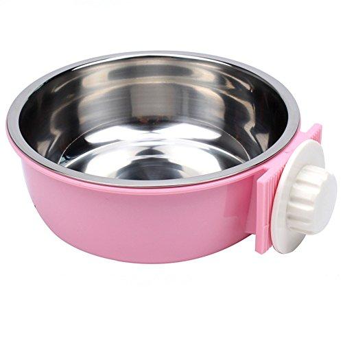 Pet Online Tazón de comida de animales domésticos jaula colgante de acero inoxidable perro y gato tazón de fuente, rosa, L: los 16 * 5cm