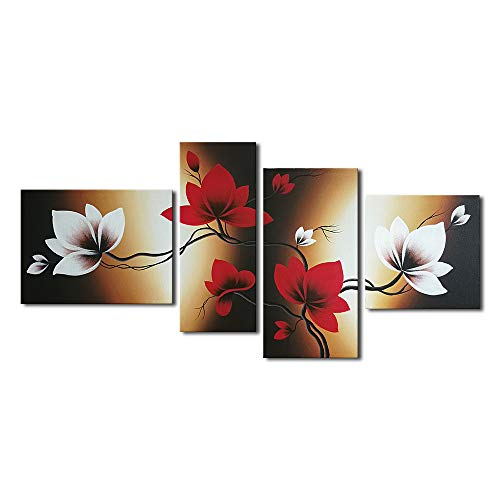 Wieco Art - Full Bloom in Spring Red Flowers 4 Piece Modern Stretched and Framed 100% Hand Painted Flowers Artwork Floral Oil Paintings on Canvas Wall Art Ready to Hang for Living Room Bedroom Home Decorations