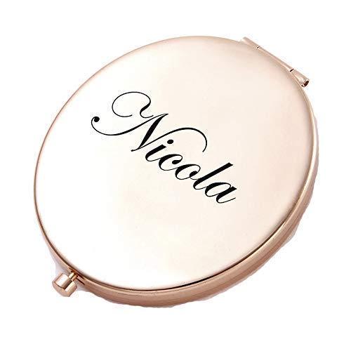 Polka Dot Sky Personnalisé Doré Rose Cercle Rond Forme Miroir Compact pour Demoiselle d'honneur, Cadeau de Mariage Tout Nom & Message Gravé