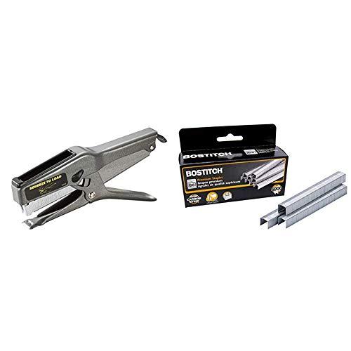 Bostitch Office B8 Heavy Duty 45 Sheet Plier Stapler, Full-Strip, Black (02245) & B8 PowerCrown Staples, 0.375 Inch Leg, 45 Sheet Capacity, 5,000 Per Box (STCR21153/8)