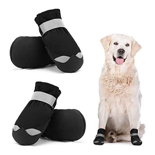 Dociote wasserdichte Hundeschuhe pfotenschutz mit Anti-Rutsch Sohle, reflektierendem Riemen, Klettverschluss Schneeschuhe für mittelgroße große Hunde 4 Stück Schwarz 7#