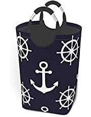 Wasmand Marine Nautische Achtergronden Blauw Wit Kleuren Dieren Anker Wasmand Vuile Kleding Tas Regenboog Weegschalen Magische Sterren Opvouwbare Emmer Wasbak Speelgoed Opslag Organizer voor College Do