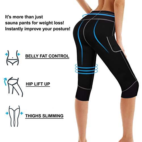 Bingrong Women Weight Loss Hot Neoprene Sauna Sweat Pants with Side Pocket Workout Thighs Slimming Capris Leggings Body Shaper (Black, Medium)