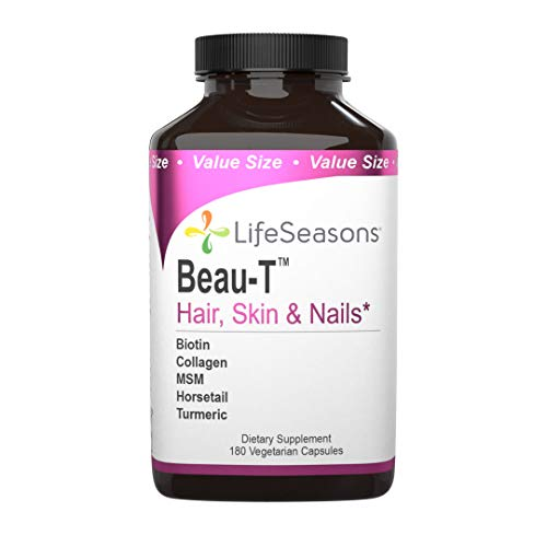 LifeSeasons - Beau-T - Hair, Nail, and Skin Supplement - Maintain Healthy Hair and Nail Growth - Supports Clear Skin - Nail Strengthener - Contains Biotin, Collagen, Turmeric - 180 Capsules