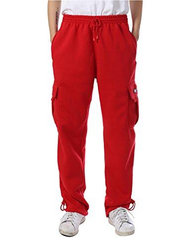 Men's Regular Fit Fleece Cargo Sweatpants Pants 4XL Red