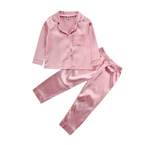 CHRONSTYLE Kleinkind Baby Kids Satin Pyjama Set, Langarm Button-Down Nachtwäsche PJs für Mädchen (rosa, 4-5Jahre)