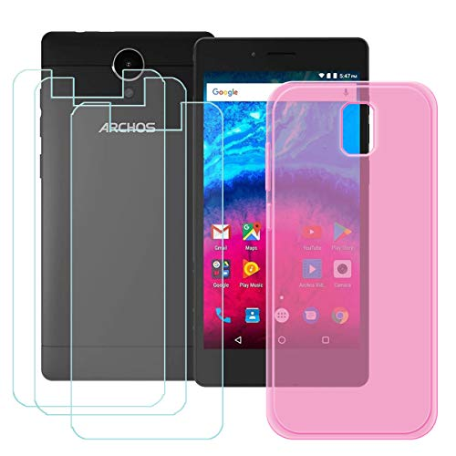 DQG Panzerglas + Hülle für Archos Core 50,Semi-Transparent Pink Cover TPU Handyhülle Silikon Tasche Case Schutzhülle - 3 Stück Gehärtetes Glas Schutzfolie für Archos Core 50 (5.0