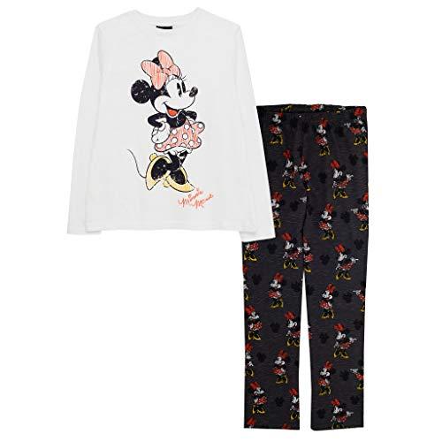 Disney Minnie Mouse Sketchy Mädchen Langer Pyjama Set Weiß/Charcoal 158   Disney Nachtwäsche, School Girls PJs, Kinderkleidung, Kindergeburtstags-Geschenk-Idee