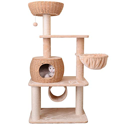 YYSYN Arbre À Chat Mural,Multi-Layer Handmade Cat House, Sisal-Wrapped Column, Tunnel and Cat Spoon, Padded Platform, Anti-Falling Equipment, Cat Climbing Frame