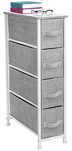 Sorbus Narrow Dresser Tower with 4 Drawers - Vertical Storage for Bedroom Bathroom Laundry Closets and More Steel Frame Wood Top Easy Pull Fabric Bins WhiteGray