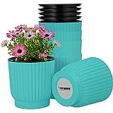 VIVOSUN 6-Pack Self Watering Pots Plastic Flower Pots Self Watering Planters for All House Plants,Flowers, Herbs Green