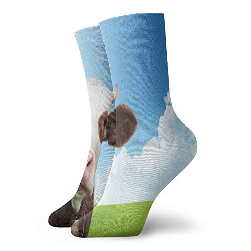 Calcetines de compresión para mujer y hombre, color marrón y blanco, para paisaje, ideal para circulación, médico, correr