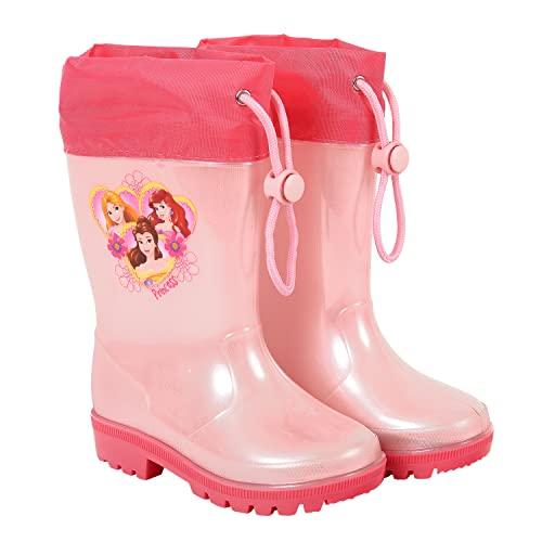 PERLETTI Botas de Agua Niñas Impermeables Princesas Disney- Zapatos de Lluvia Color Rosa Rapunzel Ariel Belle - Botines para Pequeñas Fucsia con Suela Antideslizante Material PVC (Rosa, 30/31 EU)