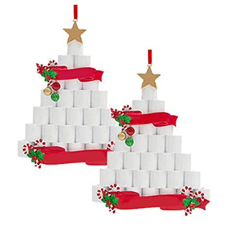 Christmas Toilet Paper Hanging Ornament,Toilet Paper Crisis 2020 Toilet Paper Ornament Christmas Hanging Ornaments Home Door Wall Tree Decoration (2PC)