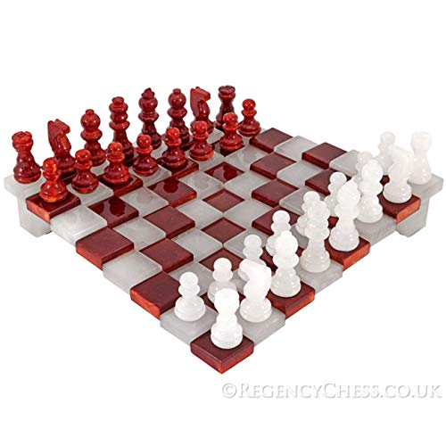 3D Rosso e Bianco Alabastro Set di Scacchi 24.1cm