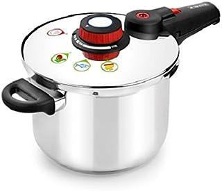 Monix Selecta Olla a presión rápida 7 litros con Sistema de selección de Alimentos y Cierre automático, Acero INOX 18/10, Gris, 22 cm