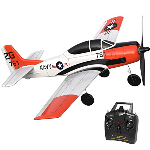 VOLANTEXRC RC Airplane 2.4Ghz 4CH with Aileron T28 Trojan Parkflyer Remote Control Aircraft Plane Ready to Fly with Xpilot Stabilization System, One-Key Aerobatic Perfect for Beginner (761-9 RTF)