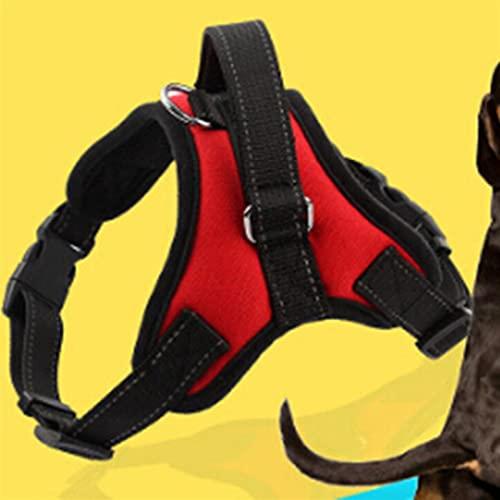 ZSDFW Arnés para perro sin tirar, transpirable, ajustable, cómodo, reflexión nocturna, no extenuante, para perros medianos y grandes, ideal para entrenamiento de caminar, color rojo