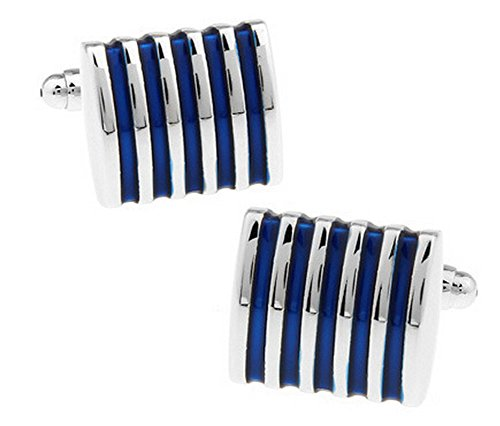 Joyfeel Buy 1 Paia Gemelli da Polso Uomo Eleganti Blu Stripe Gemelli per Business Regalo di Nozze