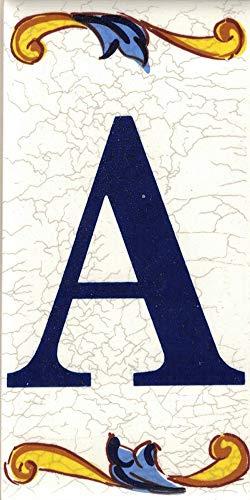 TORO DEL ORO Números casa. Numeros y Letras en azulejo. Calca cerámica. Estilo craquelé. Nombres y direcciones. Diseño Craquelé Mediana 5x10 cms (Letra'A')