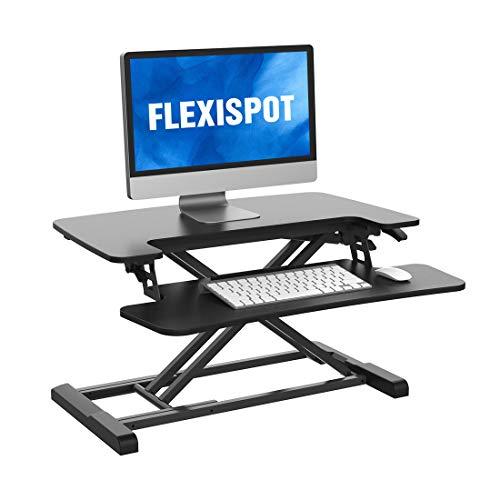 FLEXISPOT Standing Desk Converter 28 inch Height Adjustable Stand Up Desk Riser, Black Home Office Desk with Deep Keyboard Tray for Laptop