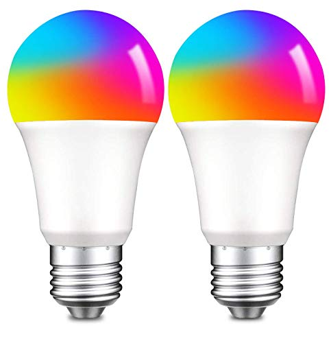 Zigbee Smart Light Bulbs E26 A19 Color Changing Light Bulbs 868LM Dimmabel Multicolor Work with Alexa Google Assistant 2 Pack (Hub Required)