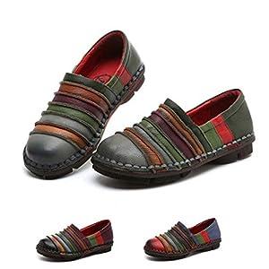 Socofy Donna Mocassini in Pelle Donne Loafers Comode Slip On Scarpe Casual Shoes Vintage Unico Strisce Contrasto Colore…