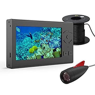 OVETOUR Underwater Fishing Camera, Portable 50FT Wired Fish Finder Camera HD 1000 TVL Infrared LED IP68 Waterproof Camera with 4.3 Inch AHD Display For Ice Lake Boat Kayak Fishing