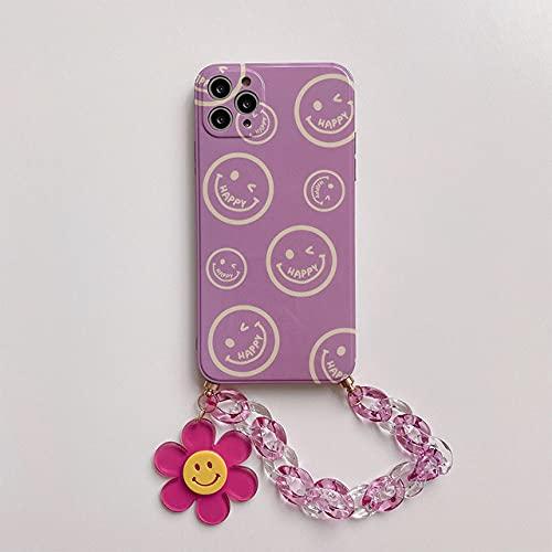LIUYAWEI Estuche con Cadena de muñeca para iPhone 12Pro MAX 7 8 Plus XR XS MAX SE 2020 Estuches IMD Estuche Colgante con Cadena de Flor de Sol Lindo para iPhone 11, A, para iPhone 12mini
