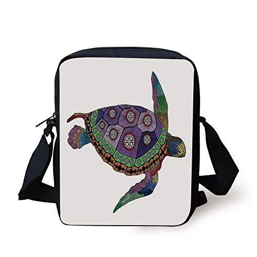Psychedelic Decor,Sea Turtle with Colorful Ornamental Tattoos on Animal Art Work,Purple Orange Pink Print Kids Crossbody Messenger Bag Purse