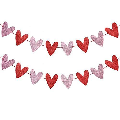 LLJM Hanging String Garland Decorations, Valentine's Day Red Hearts Decoration Flag Flash Pink Love Flower Decoration Love Party