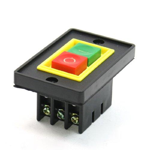 sourcing map Interruptor de botón pulsador AC 380V 2KW Interruptor de botón de encendido/apagado I/O Verde rojo Botón