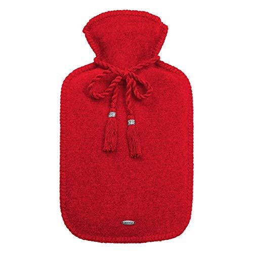 GiesSWEIN Ruby – warmwaterkruik met overtrek van 100% lamswol, warmtefles voor warmtebehandeling, woll walk, scheerwol, Swarovskikristallen, koord, hoogwaardig, zacht, warm, knuffelig - 47,3 x 22,7 cm